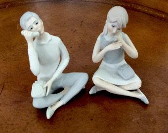 Figurines Teenagers Talking on Phones Boy and Girl