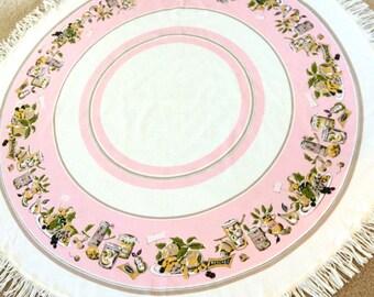 "Pink Round Tablecloth Fringe Kitchen Theme 58"" Pink Circles"