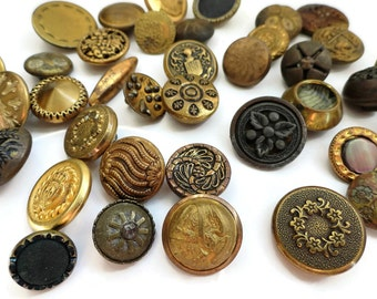 40 Antique Metal Buttons - 1800s Victorian to Vintage 1940s for Jewelry Beads Sewing Knitting 1/2 - 3/4 inch 12mm to 19mm