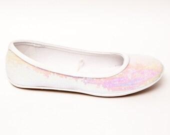 Sequin | Crystal Iridescent Iris White Ballet Flat Slipper Custom Shoes