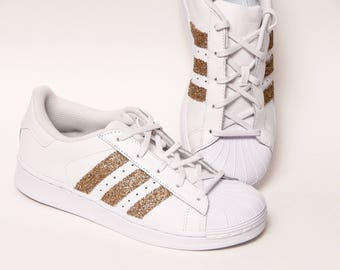 Glitter - Gold Adidas Superstars II Fashion Sneakers Shoes