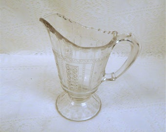 """Antique EAPG Clear Non-Flint """" Panelled -Me-Not"""" Cream Pitcher 1870s"""