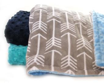 Minky Baby Blanket Boy or Girl, Gray Teal Arrow Personalized Baby Blanket // Name Baby Blanket // Personalized Baby Gift