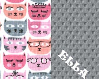 Minky Baby Blanket Girl, // Gray Pink Cat Baby Blanket // Personalized Baby Blanket //  Stroller Blanket // Pink Baby Blanket