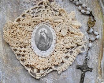 Vintage Crochet Handmade Religious Scapular