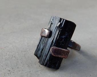 Black Tourmaline Ring, Protecting, Grounding, Root Chakra, Natural Shaped Stone, Earthy, Rustic, Mystic, One of a Kind, Size 7.75