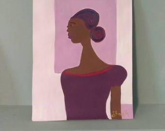 black african woman art ,black woman painting,  purple red headcovering, purple,purple dress