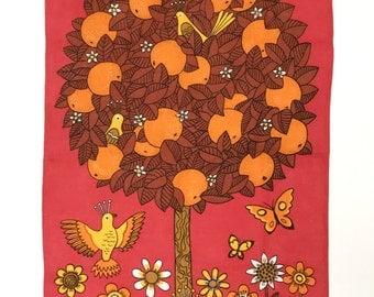 Vintage Tea Towel GROOVY Birds MOD Orange Tree Old Bleach Design Pure Linen