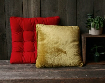 Choice of Vintage Velvet Pillows Red and Chartruse 1960s Vintage From Nowvintage on Etsy