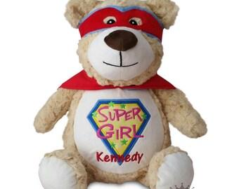 Peronalized Baby Gift, Custom Embroidered Bear, New Baby Girl Toy, Plush Stuffed Animal, Super Hero Teddy