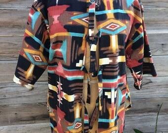 1980's southwestern print denim/twill jacket MEDIUM/LARGE