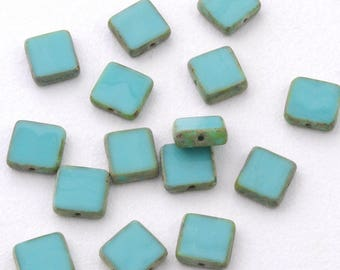 Opaque Blue Turquoise Picasso Square Czech Glass Table Cut Beads 11mm - 15