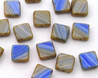 Blue Brown and White Mix Picasso Square Czech Glass Table Cut Beads 11mm - 15