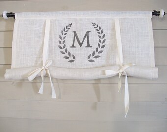 White Burlap Monogram 48 Inch Long Swedish Roll Up Window Shade Stage Coach Blind Tie Up Curtain Swag Balloon Modern Farmhouse
