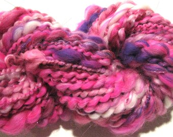 handspun yarn She's All That 62 yards purple hot pink art yarn thread plied art yarn sparkly yarn knitting supplies waldorf doll hair