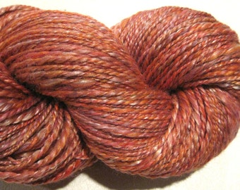 Handspun yarn Sunset worsted weight 2 ply, 266 yards merino wool silk blend pink orange mauve yarn knitting supplies crochet supplies