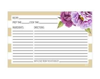 Digital Printable Bridal Shower Recipe Cards with Purple Flowers on Gold RCP002