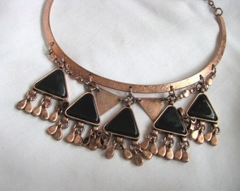 Copper & black modern choker style necklace with dangles