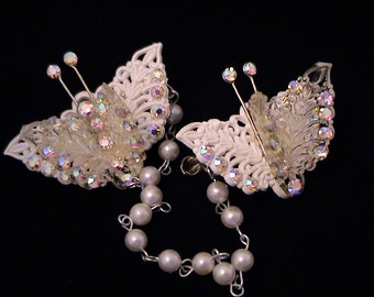 Vintage Butterfly AB Rhinestone & Pearl Sweater Guard in Orig Box