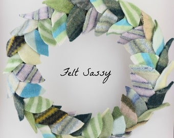 Wreath - Recycled Wool Sweaters - Green Mix - by FeltSassy
