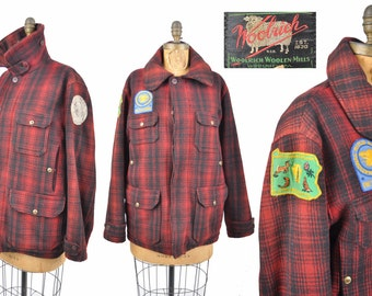 30s 40s Woolrich wool hunting jacket with NRA patch / red plaid chin strap 1930s 1940s coat
