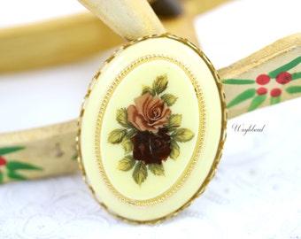 Mauve & Burgundy 40x30mm Vintage Oval Flower Bouquet Botanical Cabochon - 1