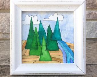"Original Watercolor Painting - Mountain Top  - 4"" x 4"""