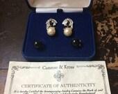 Like New Camrose & Kross Jackie Kennedy reproduction Pearl and Diamond Earrings