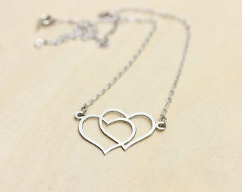 Silver Double Heart Necklace, Heart Necklace, Silver Heart Necklace