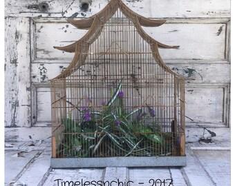 Large Birdcage  - Vintage Birdcage - Metal Birdcage - Old Birdcage - Taj Mahal - Pendant Light - Garden Decor - Succulent Planter - Birdcage