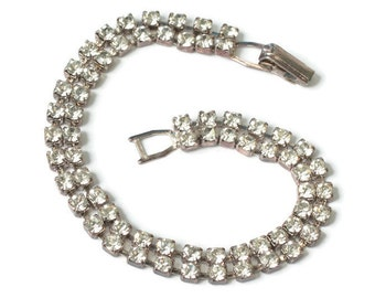 Two Row Clear Rhinestone Bracelet Vintage Wedding Prom