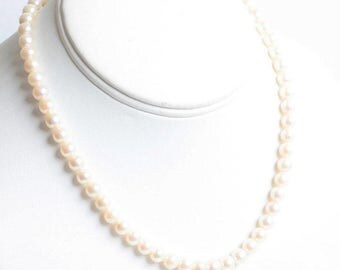 Cultured Pearl Choker Necklace Sterling Clasp 16 Inch Wedding Bridal Classic