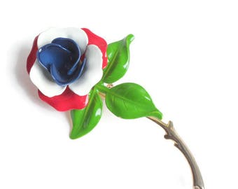 Red White and Blue Enameled Flower Brooch Vintage