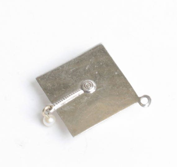 Sterling Graduation Mortarboard Charm with Pearl Dangle Vintage