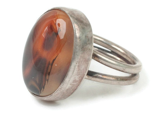 Picture Agate Ring Moss Agate Sterling Silver Size 6