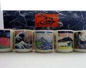Reserved for Lauren Sake Cups Set of Five , Japanese Scenes Art  Sake Rice Wine Cups ,Katsushika Hokusai Mount Fuji Scenes Sake Cup Set