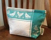 Hen Pecked--Vintage Cotton/Linen Storage Bag (Small)