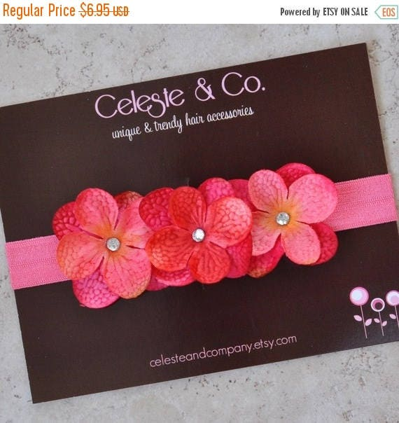 Newborn Baby Girl Headband - Infant Headband - Flower Headband - Triple Dainty Bright Pink Flowers on Stretch Headband - Photo Props