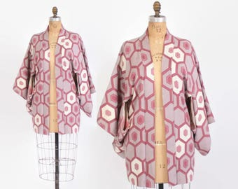 Vintage 60s Silk KIMONO Jacket / 1960s Geometric Lavender Mauve Ivory Boho Haori Duster