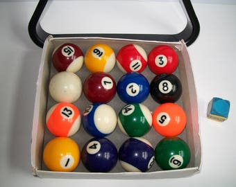 Miniature Billiard Balls and Rack Pool Balls