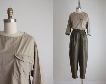 crinkle khaki blouse