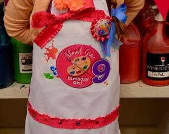 NEW Design Art  Painting Party Personalized Tween Apron Pottery Personalized Apron Smock Palette adorned with colorful Gems