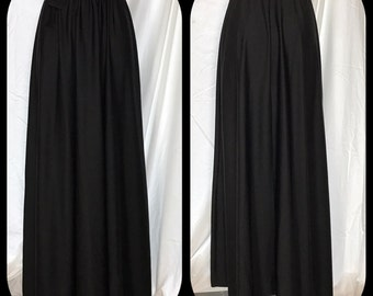1970s Ship N Shore Black Maxi Skirt with Belt Tie - Size 12