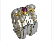 Mothers Day Stacking Rings for  woman set with Pearls & Gemstones / silver gold 9ct /Sterling Silver .925 Designer Jewelry/ Two Metals Ring