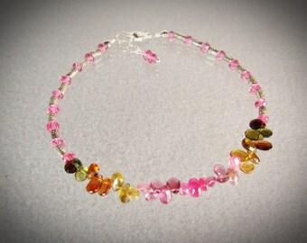 Pink Sapphires and Tourmaline briolettes 925 silver bracelet/multi color tourmaline/beaded bracelet/handmade bracelet/VNV Design 0221920171