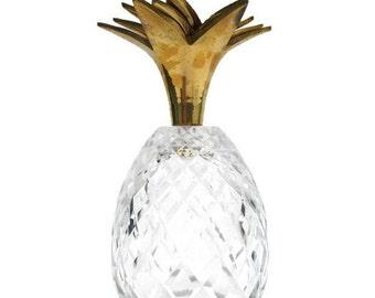 Vintage Hollywood Regency Brass Cut Glass Pineapple Candleholder