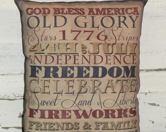Primitive Typography Americana Accent Pillow-Old Glory-Independence Day-4th of July-God Bless America~Primitive Americana Home decor