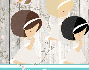 Communion girl clipart - COMMERCIAL USE OK