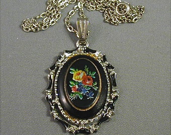 Floral On Black Pendant Necklace