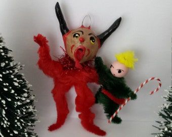 Vintage Style Folk Art Naughty Krampus Chenille Christmas Holiday Feather Tree Chenille Ornament
